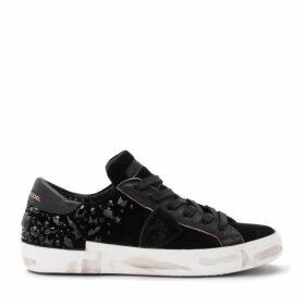 Philippe Model Paris X Sneaker In Black Suede With Heat-sealed Swarovski Stones