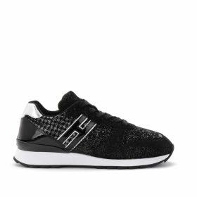 Hogan Sneaker Model R261 In Shiny Black Suede With Glitters
