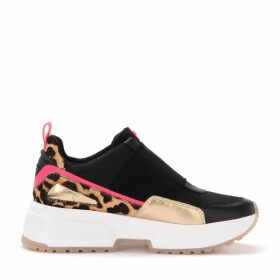 Michael Kors Cosmo Sneaker In Pony Effect Leather With Fuchsia Details