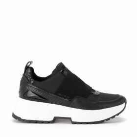 Michael Kors Cosmo Sneaker In Black Leather With Python Print