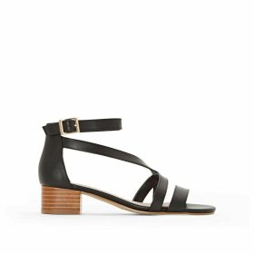 Leather Sandals with Square Heels