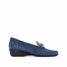 Snake Print Leather Wedge Loafers