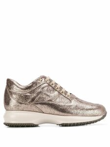 Hogan metallic finish sneakers - GOLD