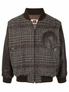 Issey Miyake Pre-Owned 1980's chest logo plaid bomber - Brown