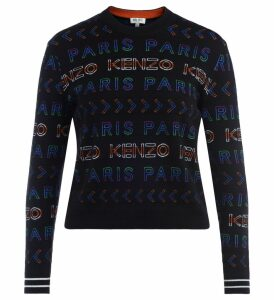 Kenzo Sweater In Black Wool With Multi-colored Crew-neck