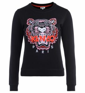 Kenzo Tigre Black Sweatshirt With Multicolored Embroidery And Red Logo