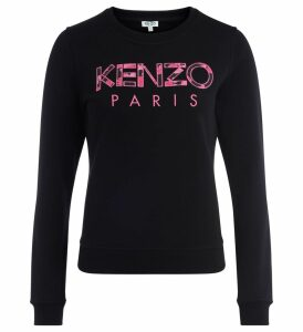 Kenzo Black Cotton Sweatshirt With Print Pink Logo