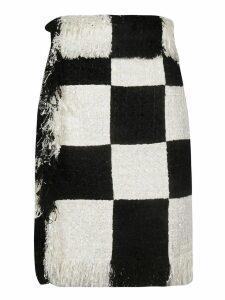 MSGM Fringed Checked Skirt