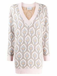 Be Blumarine Jacquard V Neck Sweater