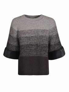 Fendi Folded Sleeve Ribbed Pullover