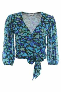 Ganni Floral-printed Wrap Top