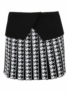 Balmain Short Pleated Houndstooth Skirt