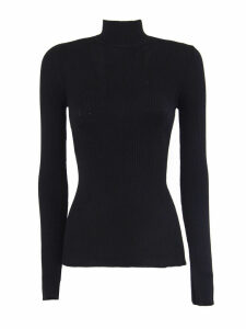 Alberta Ferretti Black Virgin Wool Ribbed Jumper