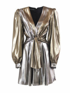 Alberta Ferretti Gold And Silver Silk Blend Dress