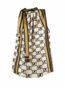 Alberta Ferretti Beige Silk Tie-neck Monogram Blouse