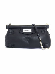 Maison Margiela Black Glam Slam Clutch In Black Leather