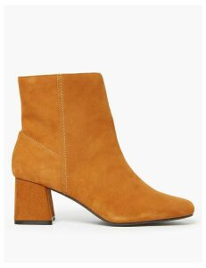 M&S Collection Leather Flared Heel Ankle Boots