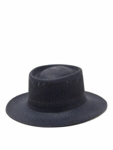 Greenpacha - Cuba Pointelle Toquilla-straw Hat - Womens - Navy