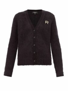 Rochas - Crystal Logo Embellished Mohair Blend Cardigan - Womens - Black