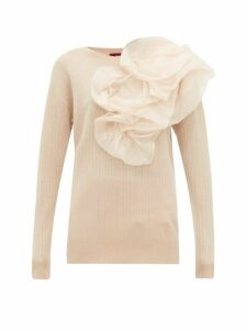 Sies Marjan - Awa Silk Organza Rosette Wool Blend Sweater - Womens - Light Beige