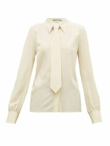 Gucci - Tie Embellished Silk Crepe De Chine Blouse - Womens - Ivory