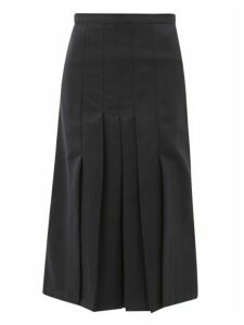 Giuliva Heritage Collection - The Verena High-rise Pleated Wool-twill Skirt - Womens - Navy