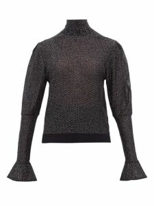 Chloé - High-neck Lamé-knit Top - Womens - Navy