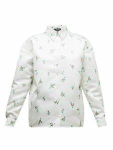Rochas - Floral-print Duchess-satin Shirt - Womens - White