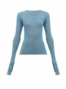Lanvin - Extra Long Sleeves Lurex Sweater - Womens - Light Blue