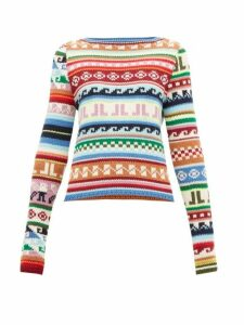 Lanvin - Jl Monogram Jacquard Motif Wool Blend Sweater - Womens - Multi