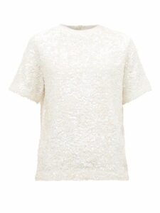 Ashish - Hand-sequinned Cotton T-shirt - Womens - White