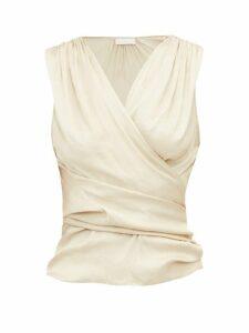 Carl Kapp - Ariel Gathered Satin Wrap Blouse - Womens - Cream