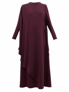 Valentino - Cape-back Silk-crepe Dress - Womens - Purple