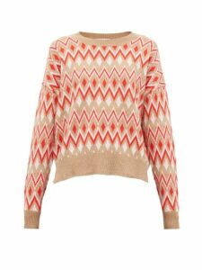 Allude - Zig Zag-jacquard Wool-blend Sweater - Womens - Red Multi