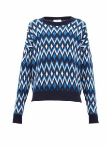 Allude - Geometric Jacquard Wool Blend Sweater - Womens - Blue Multi