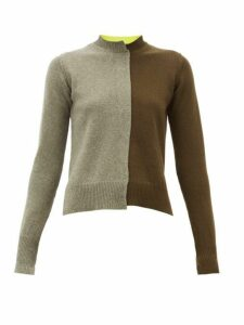 La Fetiche - Cathy Colour-block Wool Sweater - Womens - Black Khaki