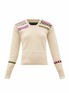 La Fetiche - Freddie Neon-intarsia Cropped Wool Sweater - Womens - Beige Multi