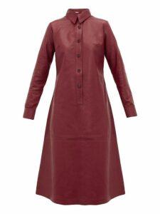 Dodo Bar Or - Paya Panelled Leather Shirtdress - Womens - Burgundy