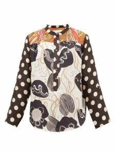 La Prestic Ouiston - Romee Floral And Polka-dot Silk-twill Blouse - Womens - Black White