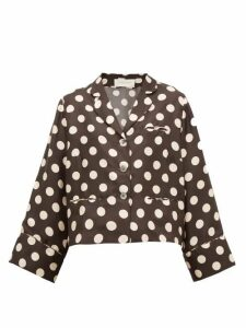 La Prestic Ouiston - Polka-dot Print Silk-twill Blouse - Womens - Black White