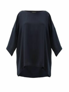Eskandar - Boat-neck Oversized Silk-crepe T-shirt - Womens - Navy