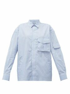Martine Rose - Shock Cord Striped Cotton Shirt - Womens - Blue