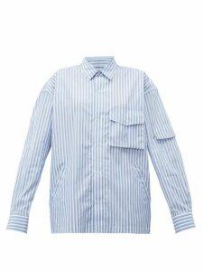 Martine Rose - Shock Cord Striped Cotton Shirt - Womens - Blue