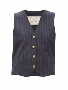 Giuliva Heritage Collection - The Andrea Shadow-striped Wool-twill Waistcoat - Womens - Navy Multi