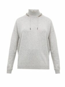 Brunello Cucinelli - Crystal Embroidered Wool Blend Sweater - Womens - Light Grey