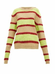 Ashish - Oversized Sequinned Sparkle-knit Stripe Sweater - Womens - Green Multi