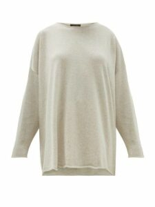 Eskandar - Boat-neck Cashmere Sweater - Womens - Light Grey