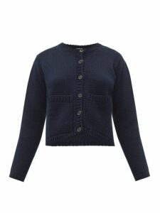 Margaret Howell - Cropped Merino Wool Cardigan - Womens - Navy