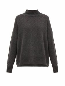Allude - High Neck Cashmere Sweater - Womens - Dark Grey