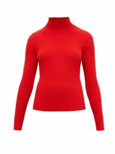 Balenciaga - High Neck Ribbed Knit Sweater - Womens - Red